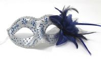 Blue and Silver  Flower Mask